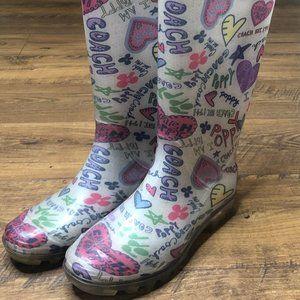 Coach Poppy graffiti rain boots
